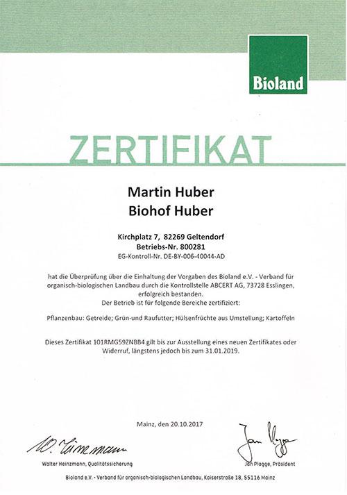 Zertifikat Bioland